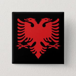 Albanisches Flaggen-Doppeltes ging Eagle im Rot Quadratischer Button 5,1 Cm