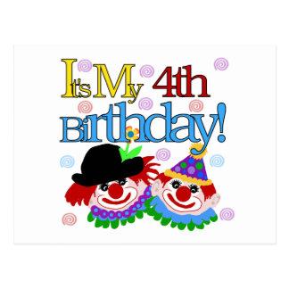 Alberne Clowns-4. Geburtstags-T-Shirts und Postkarte
