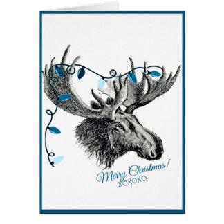 Alberne Weihnachtselche mit blauen Lichtern Karte