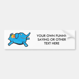 Alberner blauer Elefant Autoaufkleber
