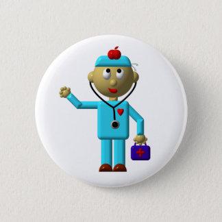 Alberner Doktor mit Apple auf seinem Kopf u. Runder Button 5,7 Cm