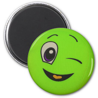 Alberner Limoner grüner Smiley-Magnet Runder Magnet 5,1 Cm