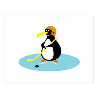 alberner niedlicher Eishockey Penguin Postkarte