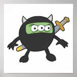albernes kleines ninja Monster Plakat