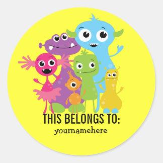 Albernes niedliches Monster DIESES GEHÖRT Aufklebe Runde Sticker