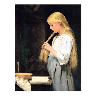 Albert Anker, Mädchen die Haare flechtend Postkarte
