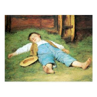 Albert Anker, Schlafender Knabe im Heu Postkarte