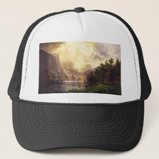 Albert Bierstadt im Gebirgshut Truckerkappe