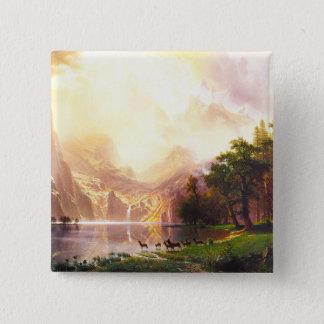 Albert Bierstadt unter der Sierra Nevada Quadratischer Button 5,1 Cm