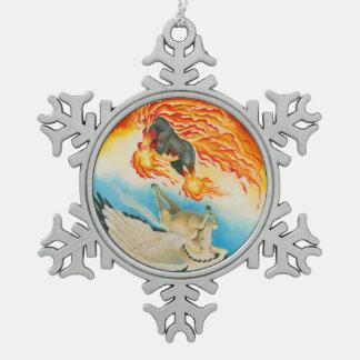 Albtraum und MESA Pegasus Yin Yang Schneeflocken Zinn-Ornament