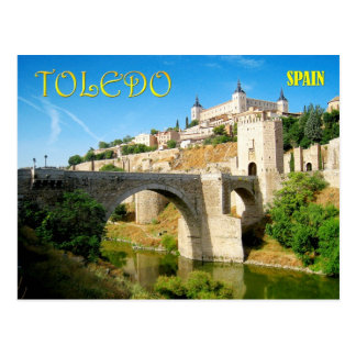 Alcantara Brücke und Alcazar in Toledo, Spanien Postkarte