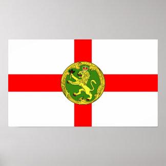 Alderney Flagge Guernsey-Symbol Briten Poster