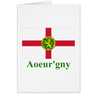 Alderney Flagge mit Namen in Auregnais Karte