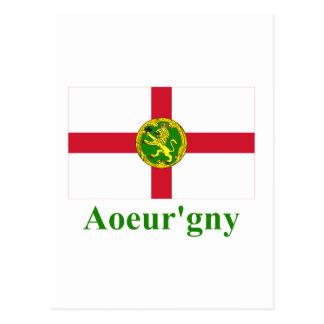 Alderney Flagge mit Namen in Auregnais Postkarte