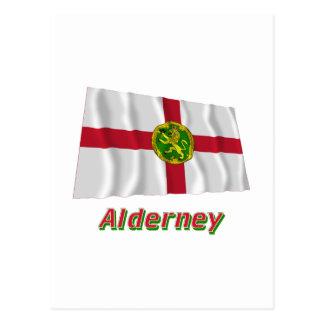 Alderney wellenartig bewegende Flagge mit Namen Postkarte