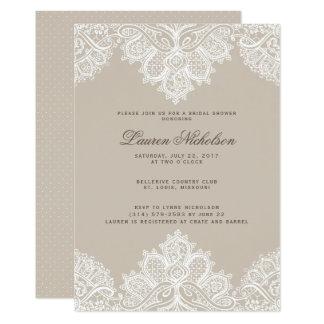 Alençon Spitze-Polterabend-Einladung Champagne 12,7 X 17,8 Cm Einladungskarte