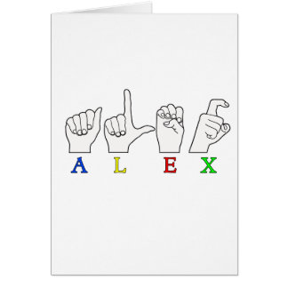 ALEX-FINGER BUCHSTABIERTE ASL-NAMENSzeichen Karte