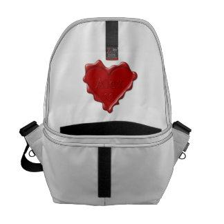 Alex. Rotes Herzwachs-Siegel mit Namensalex Kurier Taschen