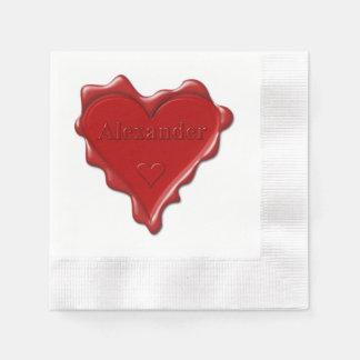 Alexander. Rotes Herzwachs-Siegel mit Papierserviette