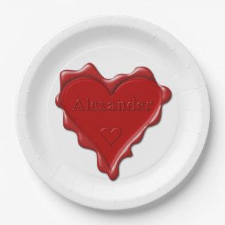 Alexander. Rotes Herzwachs-Siegel mit Pappteller