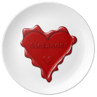Alexander. Rotes Herzwachs-Siegel mit Porzellanteller
