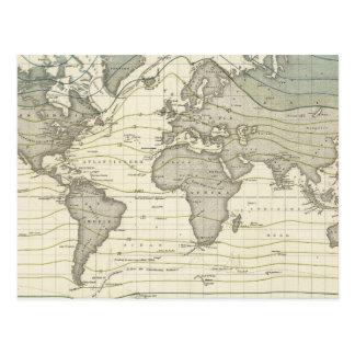 Alexander von Humboldts Systems-Isothermalkurven Postkarte