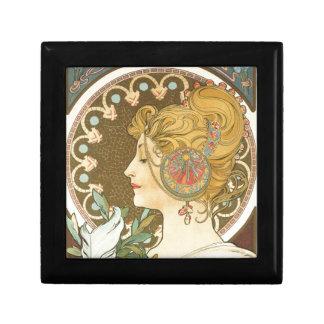 Alfons Mucha-Frau in Profil-Feder 1899 Kleine Quadratische Schatulle