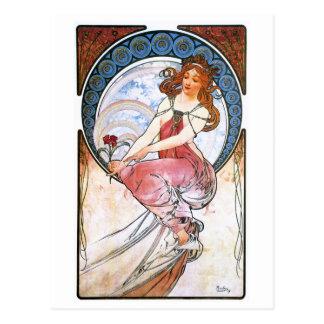 Alfons Mucha: Muse der Malerei Postkarte