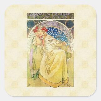 Alfons Mucha Princezna 1911 Hyacinta Quadratischer Aufkleber