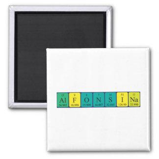 Alfonsina Periodensystem-Namenmagnet Quadratischer Magnet