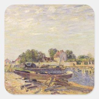 Alfred Sisley | das Loing am Heiligen-Mammes Quadratischer Aufkleber