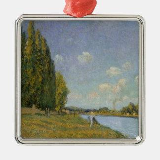 Alfred Sisley   die Seine bei Billancourt Quadratisches Silberfarbenes Ornament