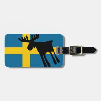 Älg / Moose med Svenska flaggan Kofferanhänger