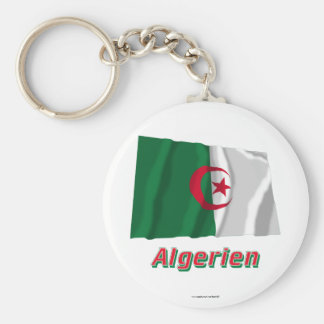 Algerien Fliegende Flagge MIT deutschem Namen Standard Runder Schlüsselanhänger