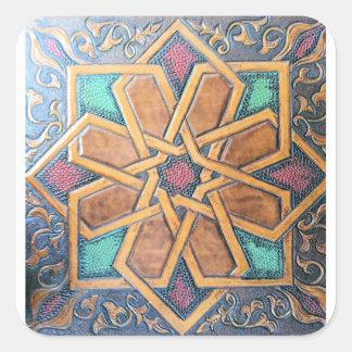 Alhambra-Entwurf #1 Quadratischer Aufkleber