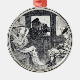 Alice auf dem Zug Silbernes Ornament