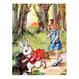 Alice folgt dem weißen Kaninchen nach Märchenland Postkarte