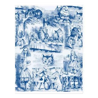 Alice im Wunderland-blaue u. weiße Mühe Postkarten