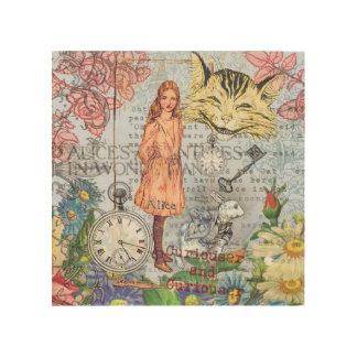 Alice im Wunderland-Cheshire-Katze Holzleinwand