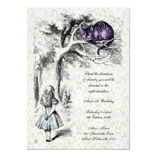Alice im Wunderland-Cheshire-Katzen-Tee-Party 11,4 X 15,9 Cm Einladungskarte