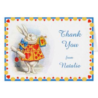 Alice im Wunderland-danken weiße Mitteilungskarte