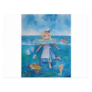Alice im Wunderland das Pool der Risse durch G Postkarte