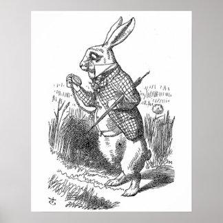 Alice im Wunderland das weiße Kaninchen Vintag Poster