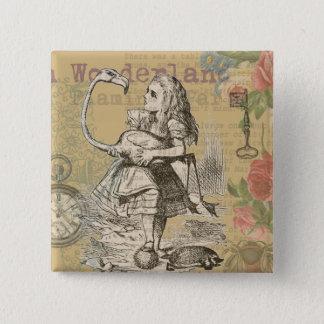 Alice im Wunderland-Flamingo Vintag Quadratischer Button 5,1 Cm
