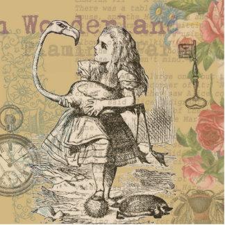 Alice im Wunderland-Flamingo-wütendes Tee-Party Freistehende Fotoskulptur