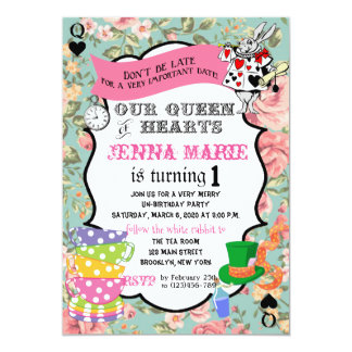 Alice im Wunderland-Geburtstag laden Königin des 12,7 X 17,8 Cm Einladungskarte