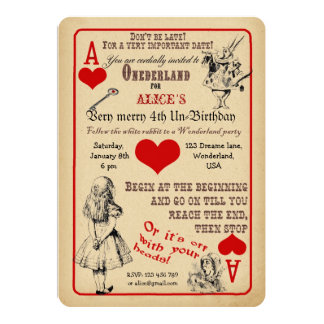 Alice im Wunderland-Geburtstags-Party Einladung 12,7 X 17,8 Cm Einladungskarte