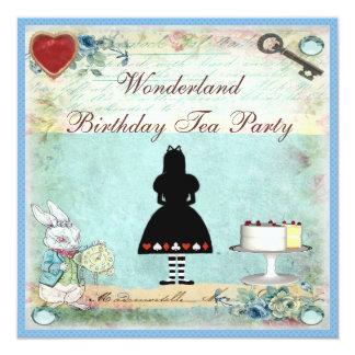 Alice im Wunderland-Geburtstags-Tee-Party lädt ein Quadratische 13,3 Cm Einladungskarte