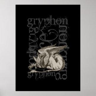 Alice im Wunderland Gryphon Grunge Single-Zahl Posterdrucke