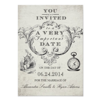 Alice im Wunderland-Hochzeits-Einladung 12,7 X 17,8 Cm Einladungskarte